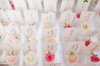 fresh flower escort cards | Breckenridge wedding at 10 Mile station |INphotography