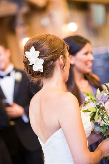 bridal hair with fresh flowers | Breckenridge wedding at 10 Mile station |INphotography