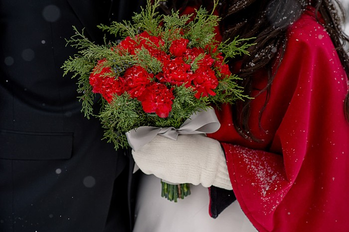 red bouquet | Emerald Lake winter elopement | Orange Girl