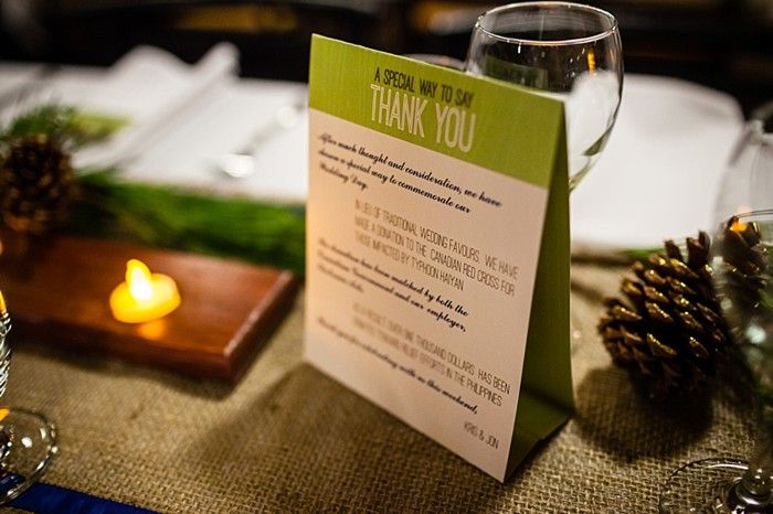 thank you table tents | winter Revelstoke wedding | Christina Louise Photography