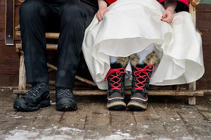 snow boots | Emerald Lake winter elopement | Orange Girl