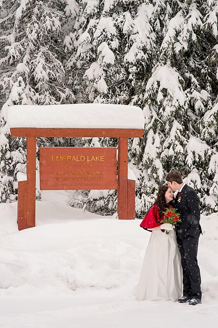 Emerald Lake winter elopement | Orange Girl