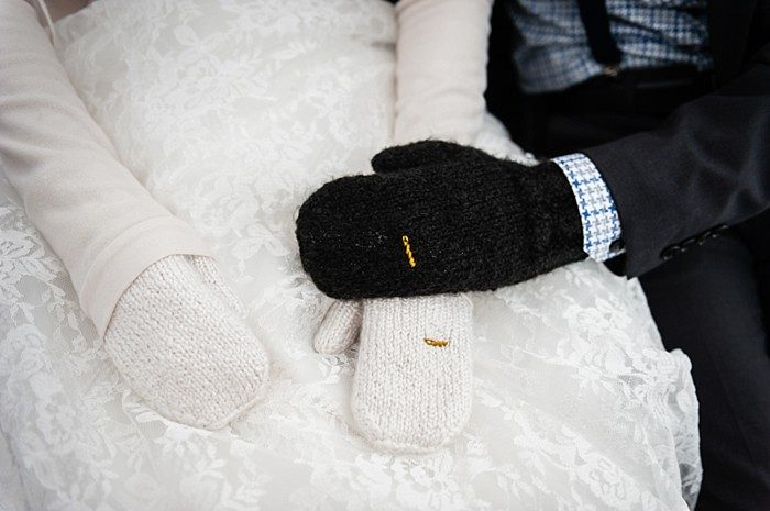 wedding mittens | winter Revelstoke wedding | Christina Louise Photography