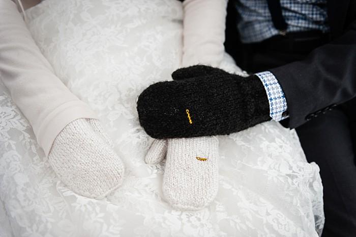 wedding mittens | winter Revelstoke wedding | Christina Louise Photography