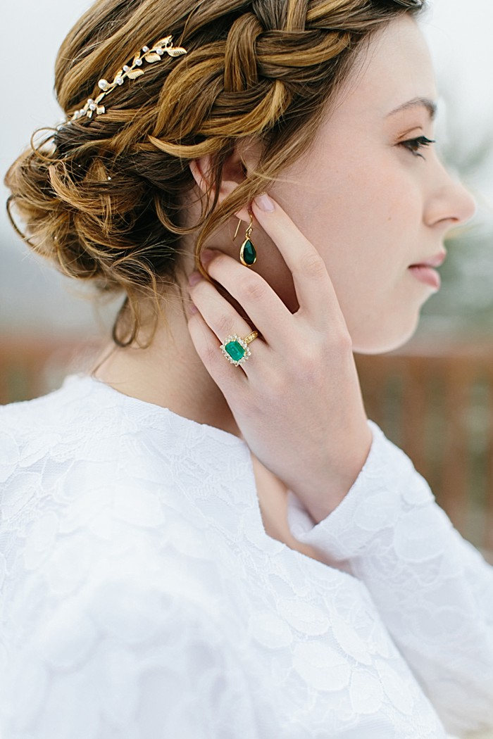 Emerald Engagement Ring | Frozen Winter Utah Mountain Wedding | Meg Ruth Photo