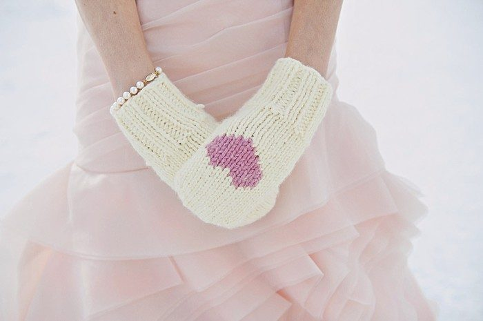 pink heart mittens | Lake Louise winter wedding | Orange Girl photography
