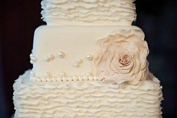 white ruffle cake | Lake Louise winter wedding | Orange Girl photography