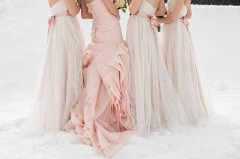 pink wedding dress | Lake Louise winter wedding | Orange Girl photography