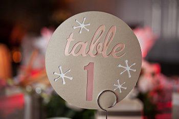 snowflake table number | Lake Louise winter wedding | Orange Girl photography