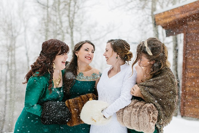 Bridesmaids in green | Frozen Winter Utah Mountain Wedding | Meg Ruth Photo