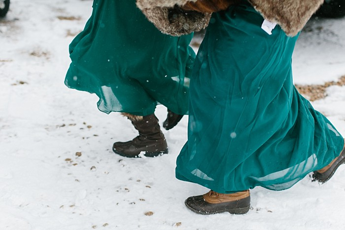 Bridesmaids in winter boots | Frozen Winter Utah Mountain Wedding | Meg Ruth Photo