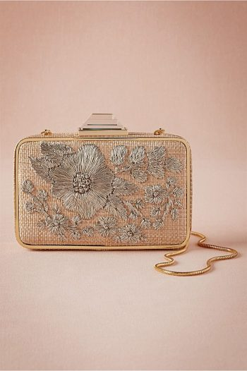 Argent Embroidered Box Clutch | BHLDN