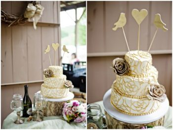 Rustic Wedding Cake with Wooden Bird Topper | Budget Savvy Bride