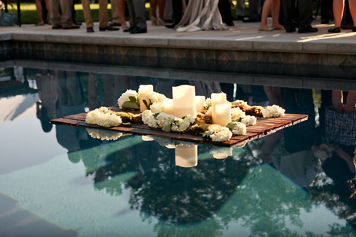 Rustic and Romantic Park City Wedding | floating florals in a pool | Pepper Nix Photography