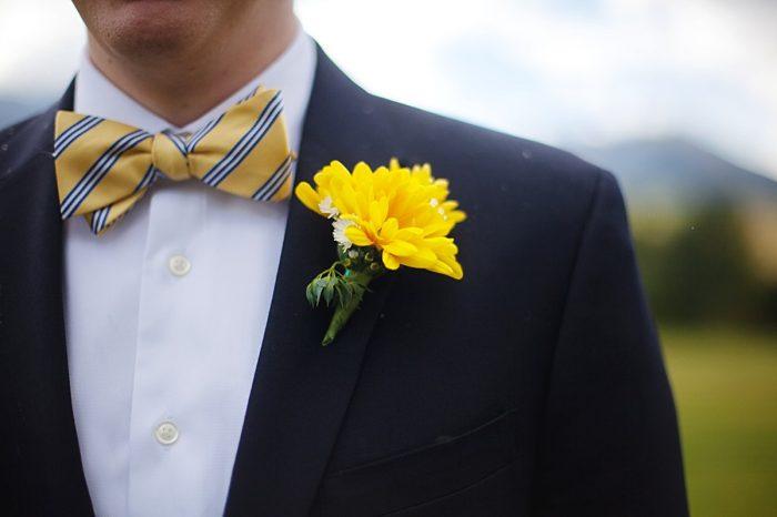 Preppy yellow striped bowtie   Fall wedding in Silverthorne Colorado   Leah McEachern Photography