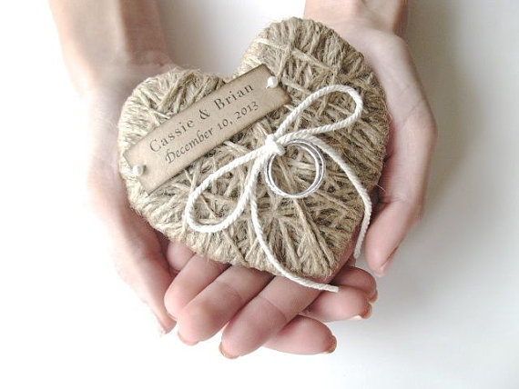rustic jute heart ring pillow