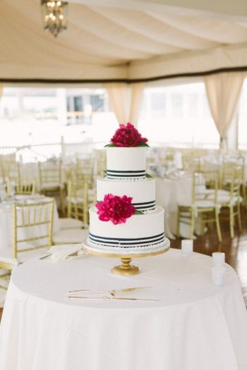 preppy stripped wedding cake with hot pink peonies | Via classic bride