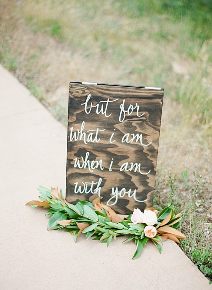 wooden wedding sign ideas | Estes Park Blush Pink Wedding | Photography by Connie Whitlock