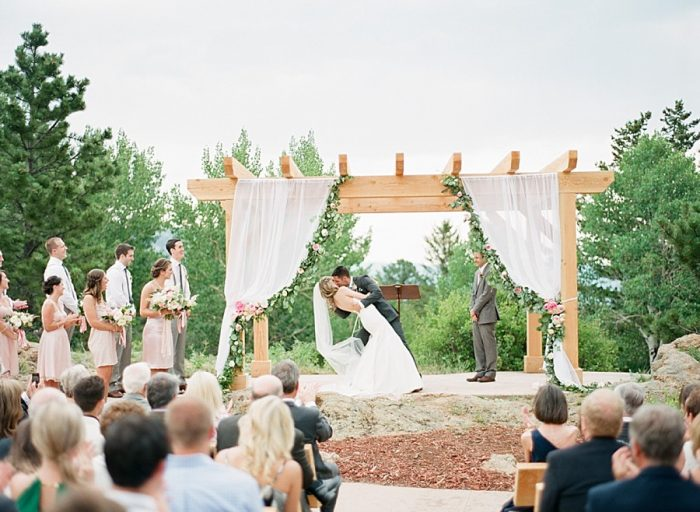 outdoor wedding ceremony ideas | Estes Park Blush Pink Wedding | Photography by Connie Whitlock