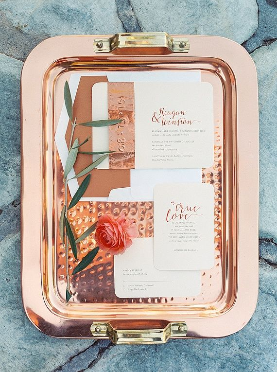copper and coral wedding invitation