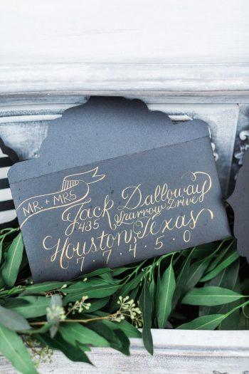 dark wedding invitation envelope