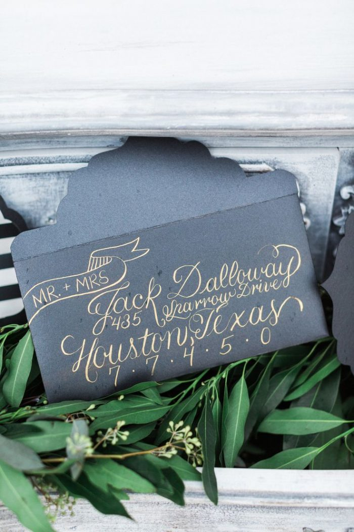 dark wedding invitation envelope