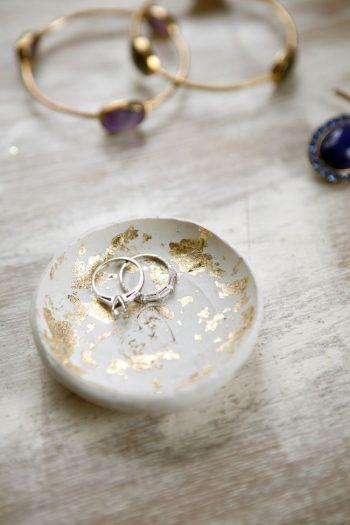 gold leaf ring dish
