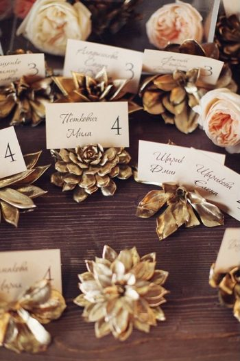 golden succulent place cards