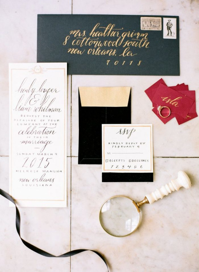 modern stylish wedding invitation