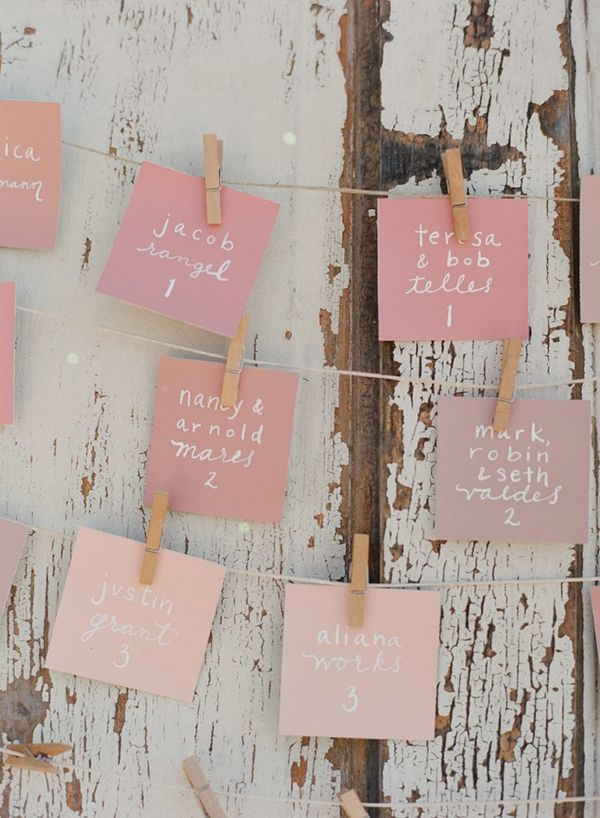 pretty pink escort cards