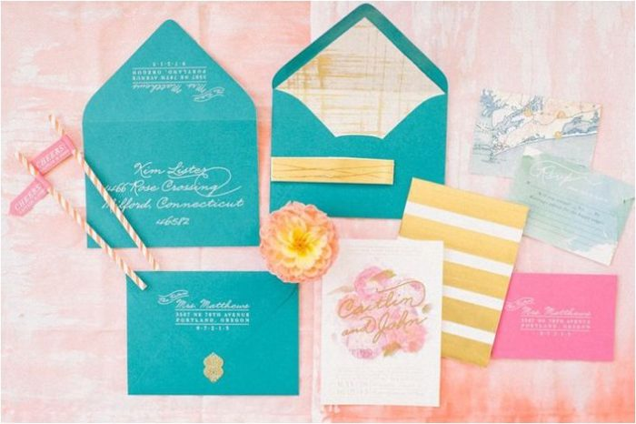 teal and pink wedding invitation inspiration