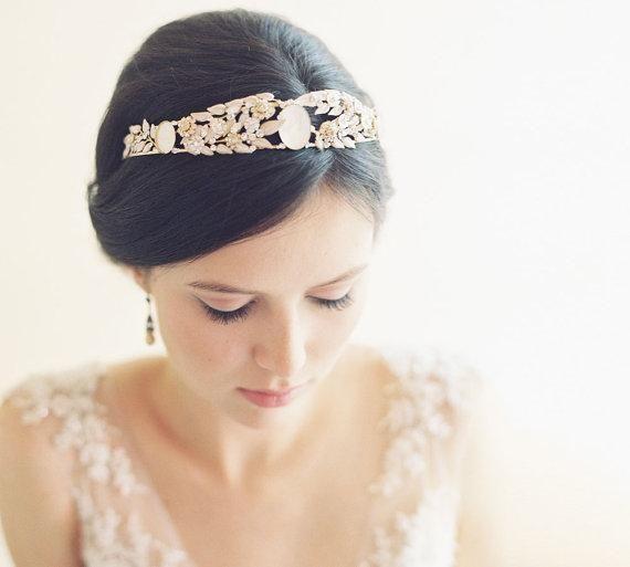 vintage inspired cameo leaf bridal tiarra crown