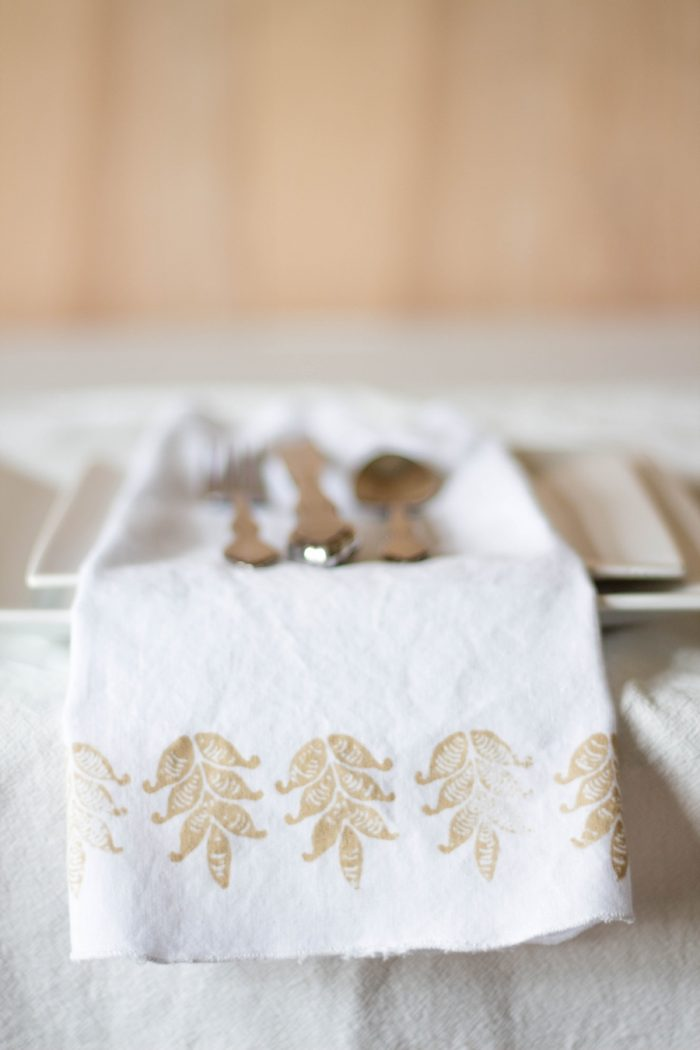 DIY block print wedding napkins | by fabric creations