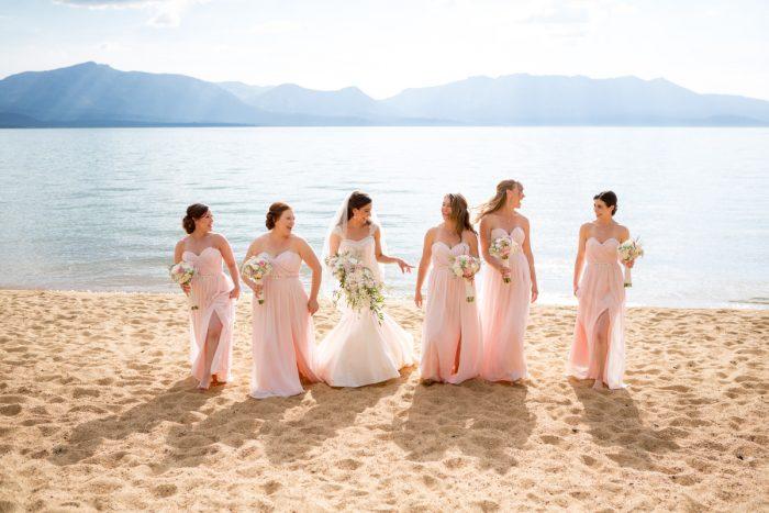 Blush Pink Bridesmaids Dresses | Lake Tahoe Wedding | Eric Asistin Photographer
