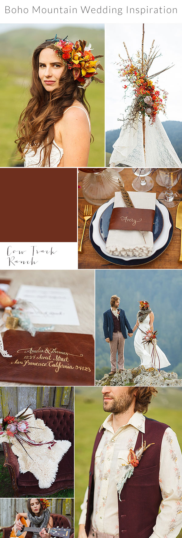Inspiration Board Boho Mountain Wedding Inspiration Bergreen Photography