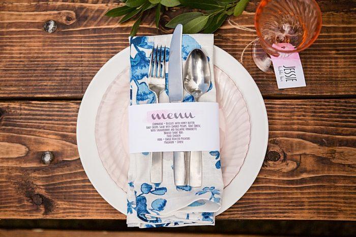 Wedding Menu | Watercolor Wedding Inspiration | Nordic Center Breckenridge Colorado | Sarah Roshan Wedding Photographer