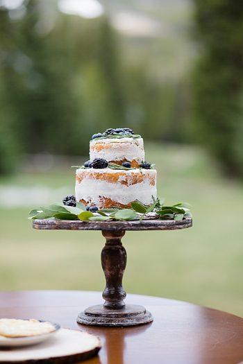 Blackberry inspired wedding cake | Watercolor Wedding Inspiration | Nordic Center Breckenridge Colorado | Sarah Roshan Wedding Photographer