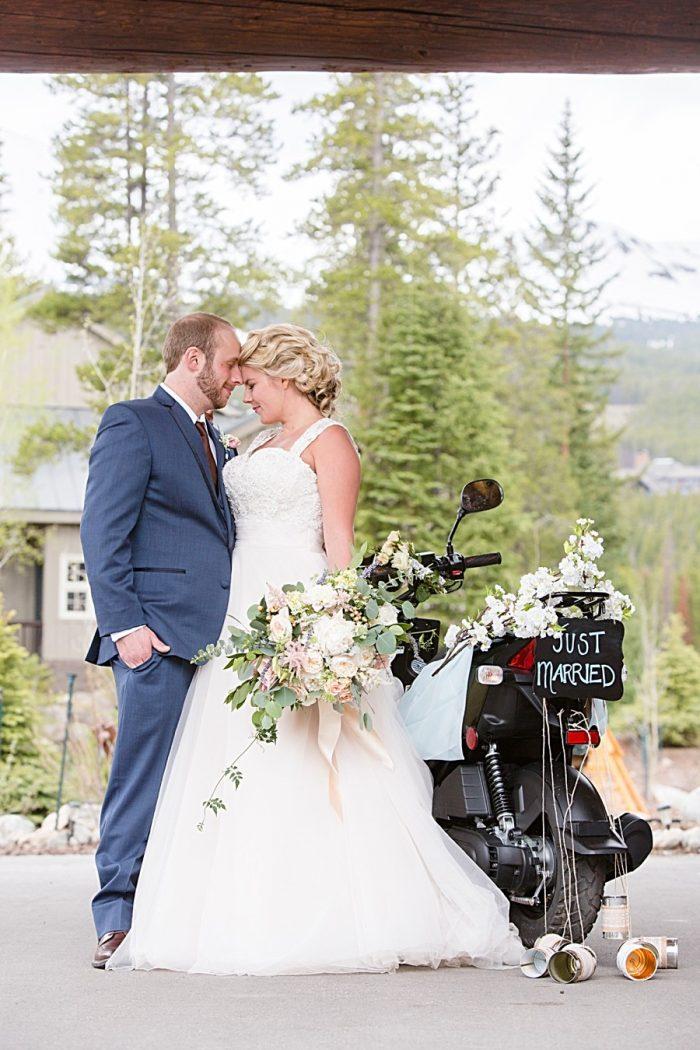 Wedding scooter | Watercolor Wedding Inspiration | Nordic Center Breckenridge Colorado | Sarah Roshan Wedding Photographer