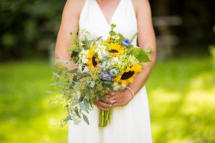 Sunflower Bouquet | Vermont Mountain Wedding | Alexix June Photography | Via MountainsideBride.com 0406