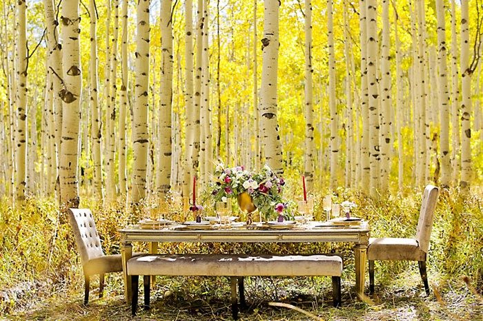 Table Inspiration For A Fall Wedding | Aspen Gold Utah Wedding Inspiration | Pepper Nix Photography | Via MountainsideBride.com