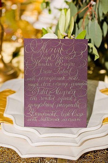 Purple Calligraphy Wedding Menu | Aspen Gold Utah Wedding Inspiration | Pepper Nix Photography | Via MountainsideBride.com