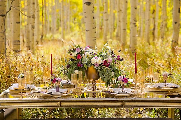 Tablescape Fall Wedding Inspiration | Aspen Gold Utah Wedding Inspiration | Pepper Nix Photography | Via MountainsideBride.com