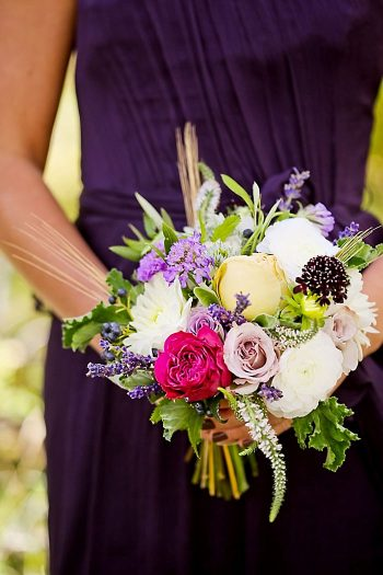 Bouquet And Purple Bridesmaid Dress | Aspen Gold Utah Wedding Inspiration | Pepper Nix Photography | Via MountainsideBride.com