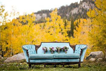 Vintage Blue Sofa And Bouquets   Aspen Gold Utah Wedding Inspiration   Pepper Nix Photography   Via MountainsideBride.com