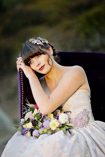 Bride In Purple Velvet Chair   Aspen Gold Utah Wedding Inspiration   Pepper Nix Photography   Via MountainsideBride.com