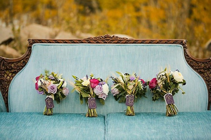 Wedding Bouquets On Vintage Sofa | Aspen Gold Utah Wedding Inspiration | Pepper Nix Photography | Via MountainsideBride.com