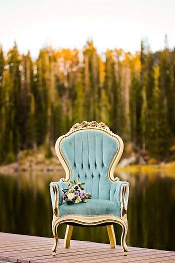 Vintage Blue Chair With Bouquet   Aspen Gold Utah Wedding Inspiration   Pepper Nix Photography   Via MountainsideBride.com