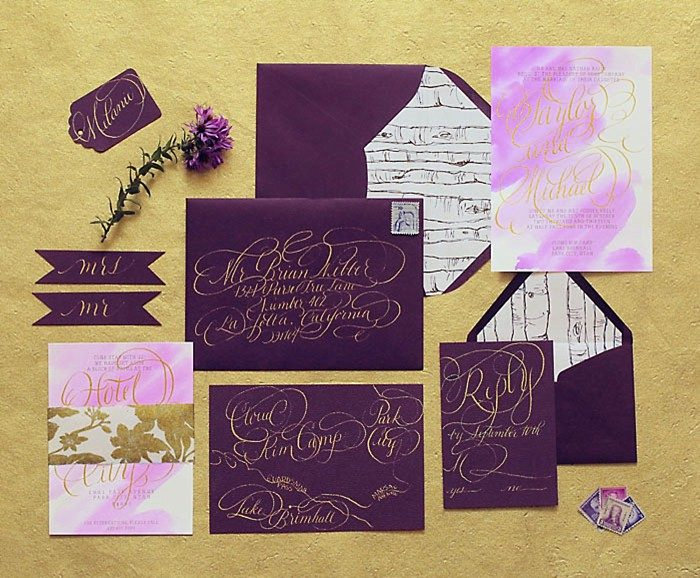 Purple Invitations | Aspen Gold Utah Wedding Inspiration | Pepper Nix Photography | Via MountainsideBride.com