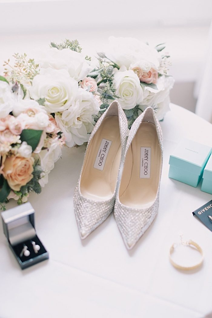 Silver Wedding Shoes | Romantic Banff Wedding | Nicole Sarah Photography | Via MountainsideBride.com