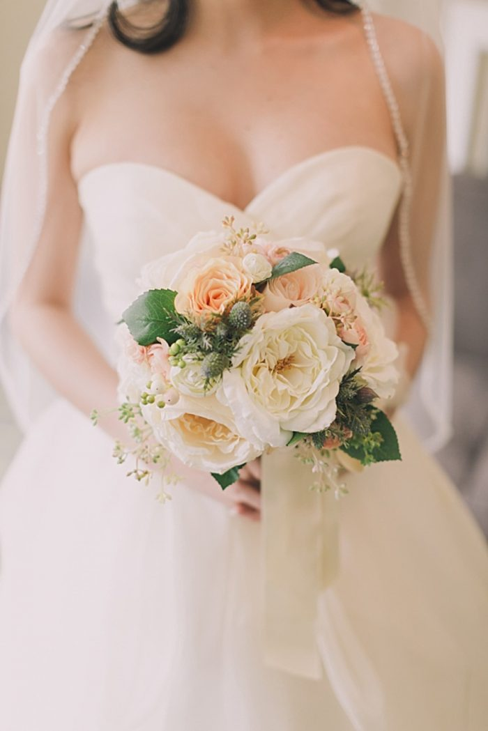 Peach and white bouquet | Romantic Banff Wedding | Nicole Sarah Photography | Via MountainsideBride.com